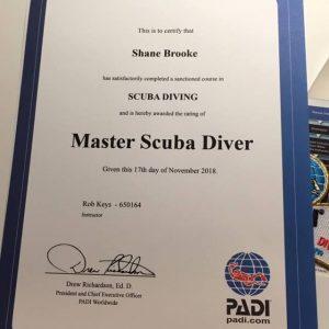 Master Scuba Diver certfiicate